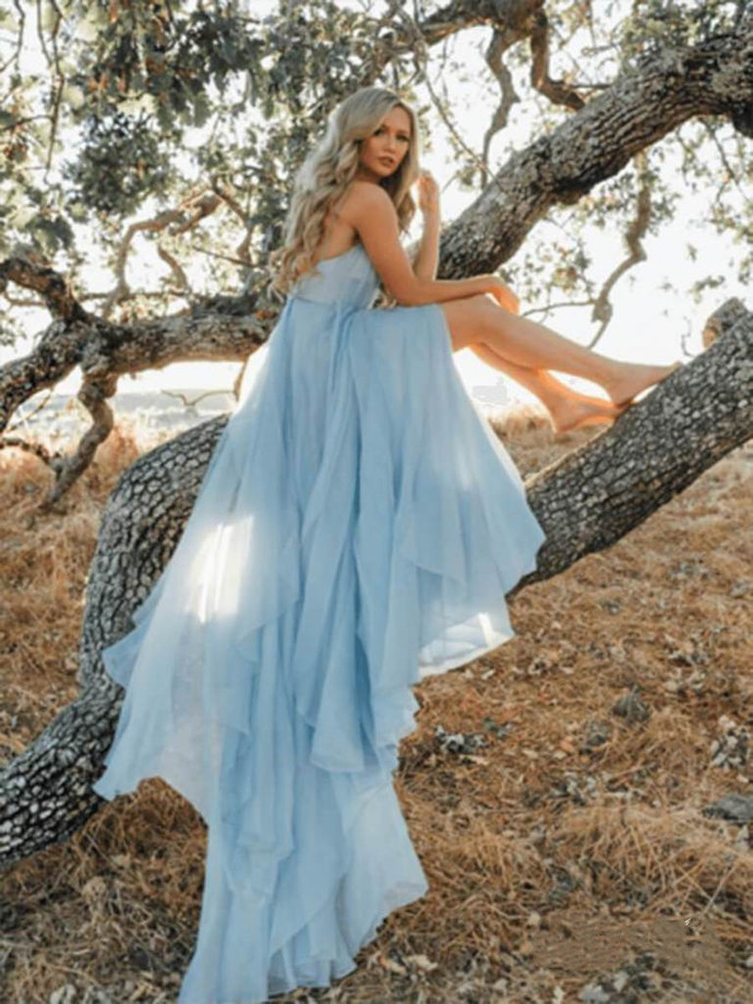 Split Sky Blue Beach Long Prom Dress with Backless Wedding Dress