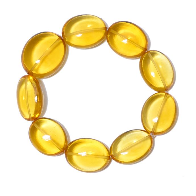 Lemon Citrine Plain Hand Polished Semi Precious Gemstone Beads Stretchable
