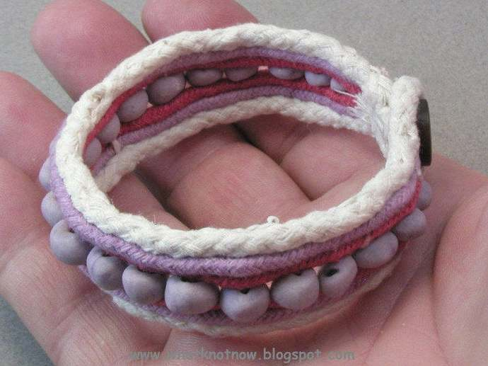 beaded cuff bracelet handcrafted wristband cotton cuff bracelet clay bead