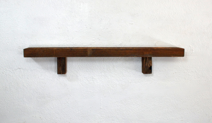 "Rustic brown wall shelf 30"" wide 3.25"" deep,handcrafted from weathered wood."