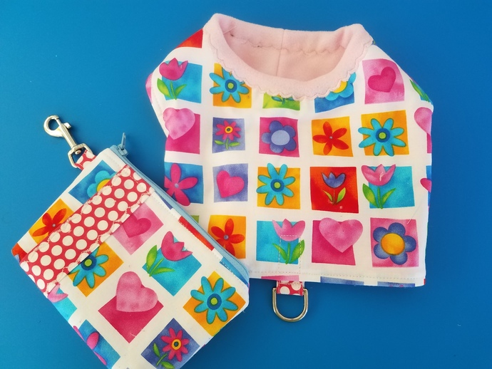 SMALL Cheerful Floral walking harness and pouch