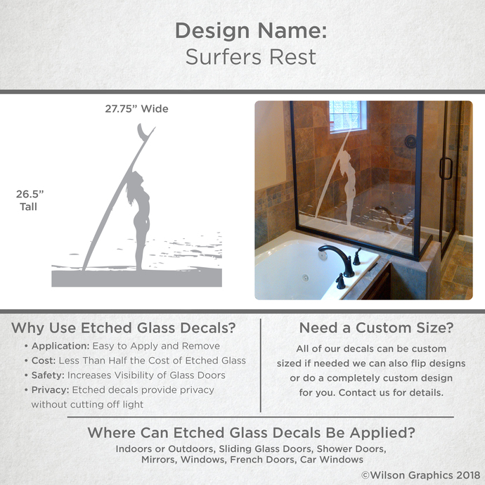 Surfers Rest - Coastal Design Series - Etched Decal - For Shower Doors, Glass