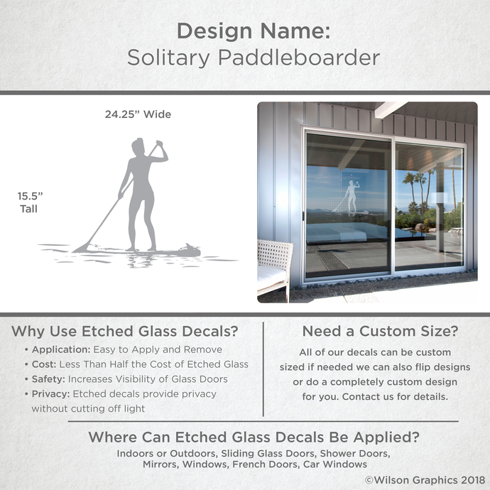 Solitary Paddleboarder - Coastal Design Series - Etched Decal - For Shower
