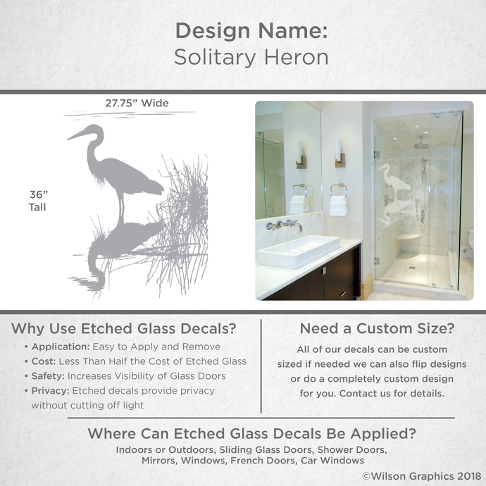 Solitary Heron - Coastal Design Series - Etched Decal - For Shower Doors, Glass