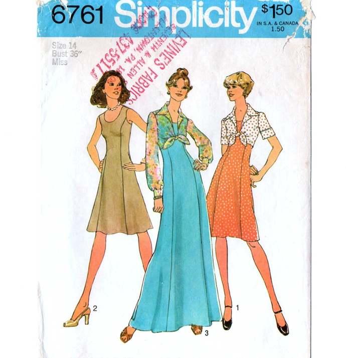 Simplicity 6761 Misses Princess Dress, Short Tie Jacket 70s Vintage Sewing