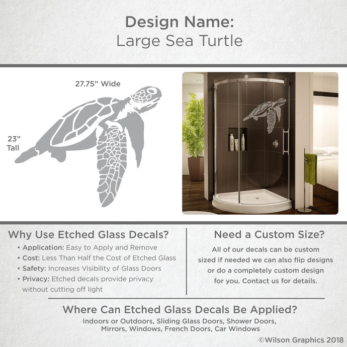 Large Sea Turtle - Coastal Design Series - Etched Decal - For Shower Doors,