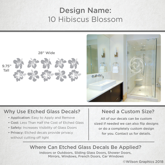 10 Hibiscus Blossom - Coastal Design Series - Etched Decal - For Shower Doors,
