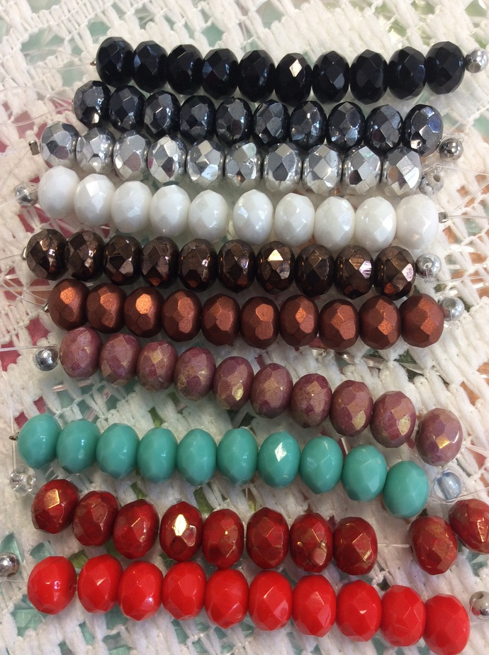 Your choice Fire polish Czech glass DONUT beads 6/9mm, sold in 10 bead lots