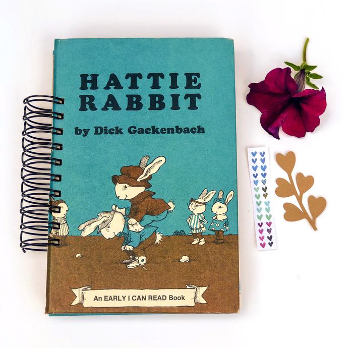 Vintage Handmade Junk Journal, Hattie Rabbit, Art Journal, Creative Journal