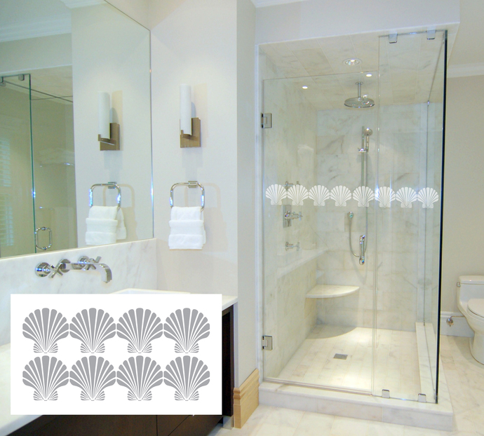 Modern Living Series For Shower Doors Etched Decal Glass Doors and Windows Art Deco V 27 tall x 27 wide