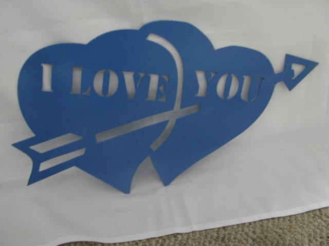 Valentine Heart with Arrow Metal Silhouette Blue