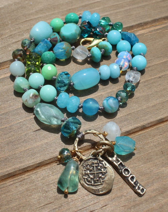 Tranquility Beaded Necklace with Pendant by KnottedUp Consciousness Jewelry