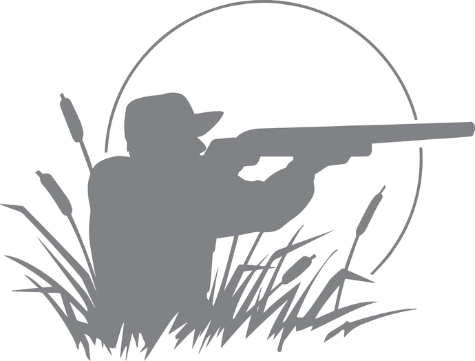 Hunter in Twilight - The Great Outdoors Series - Etched Decal - For Shower