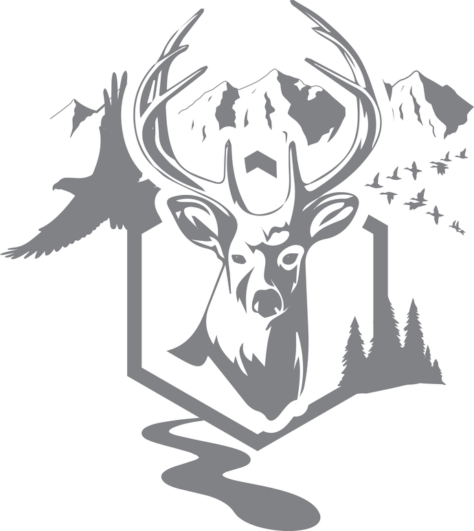 Timber King - The Great Outdoors Series - Etched Decal - For Shower Doors,