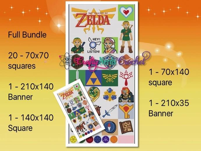Zelda Full Bundle Pattern Graphs With Single Crochet  Written