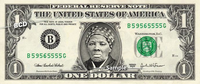 HARRIET TUBMAN on a REAL Dollar Bill Collectible Celebrity Cash Money Gift