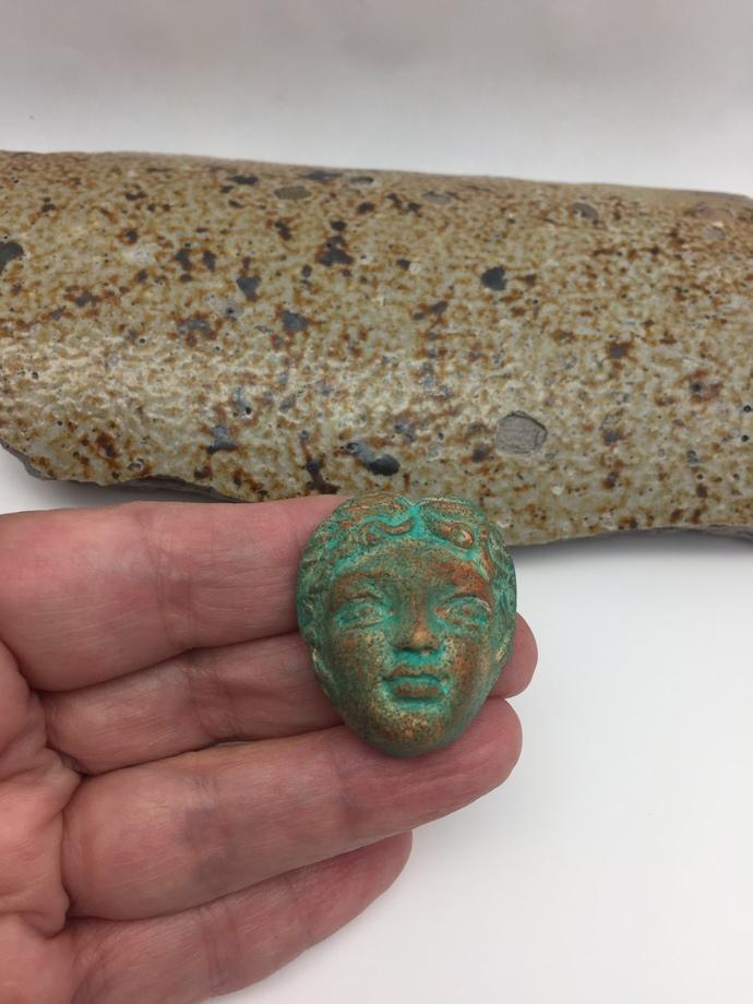 Greek Goddess Art Doll Face Cabochon - imitative stone - handmade