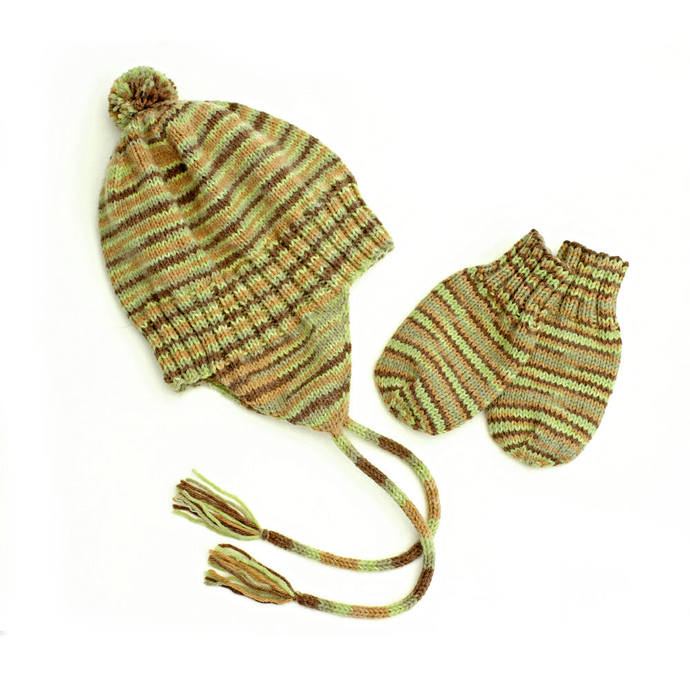 Ear Flap Hat and Mitten Set, Camo