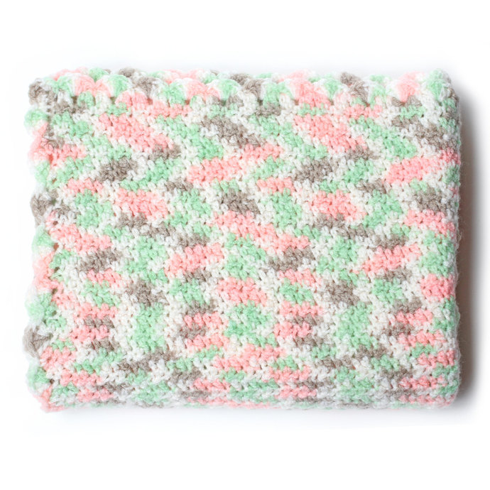 Crochet Baby Blanket, Peach and Green