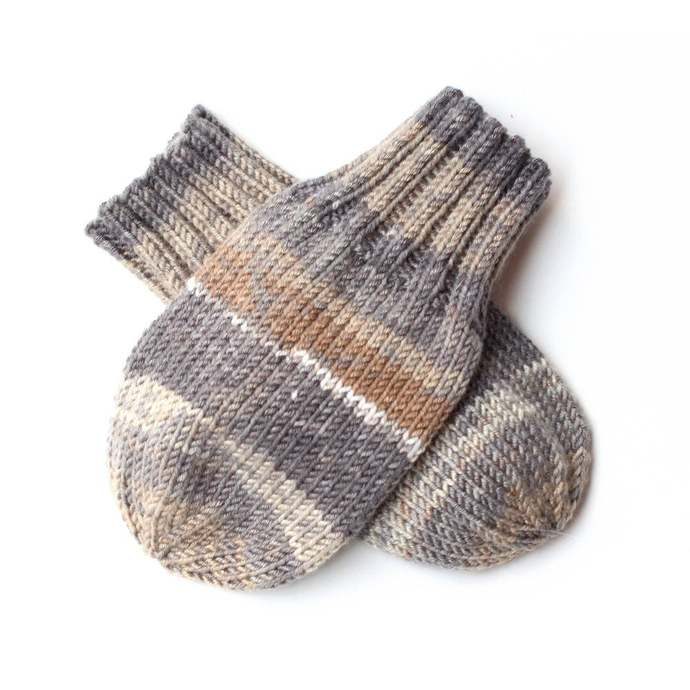 Mittens on String, Tan and Gray Stripe