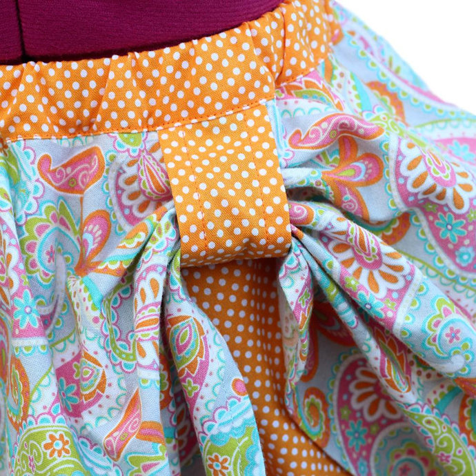 Circle Skirt Girls Paisley. Kid's Layered Pull-On Boho Cotton Twirl Skirt With
