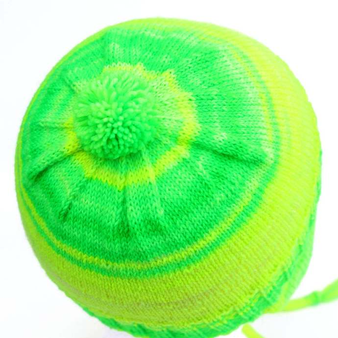 Ear Flap Hat Neon Green. 2 to 6 Years