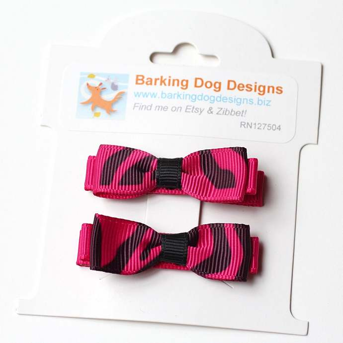 Hair Clip Set of 2, Tuxedo Bows, Zebra, Pink and Black
