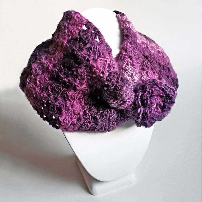 Crochet Cowl Ladies, Purple