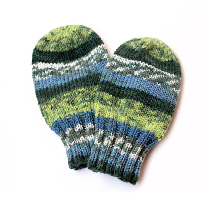Baby Mittens No Thumb, Green and Blue