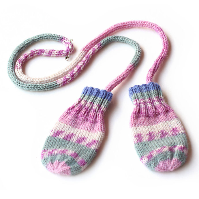 Baby Mittens on String, 3 to 6 Months