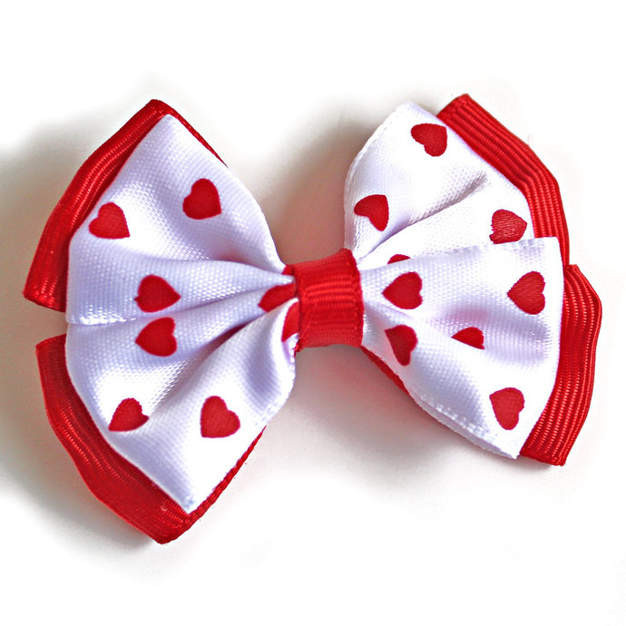 Valentine's Day Hair Bows Set of 2, Red Hearts on White