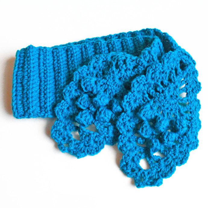 Crochet Scarf Ladies, Turquoise