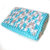 Crochet Baby Blanket, Aqua White Gray