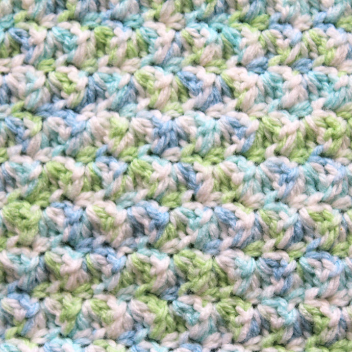 Crochet Baby Blanket, Blue and Green