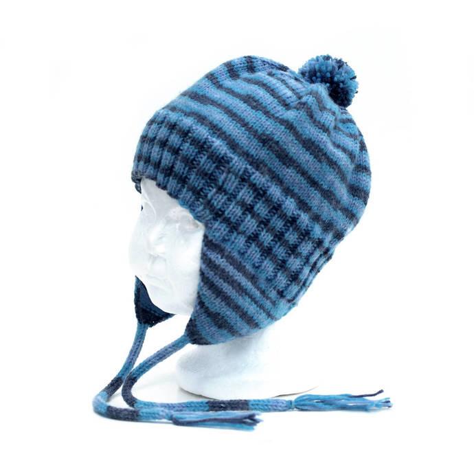 Ear Flap Hat and Mitten Set, Blue