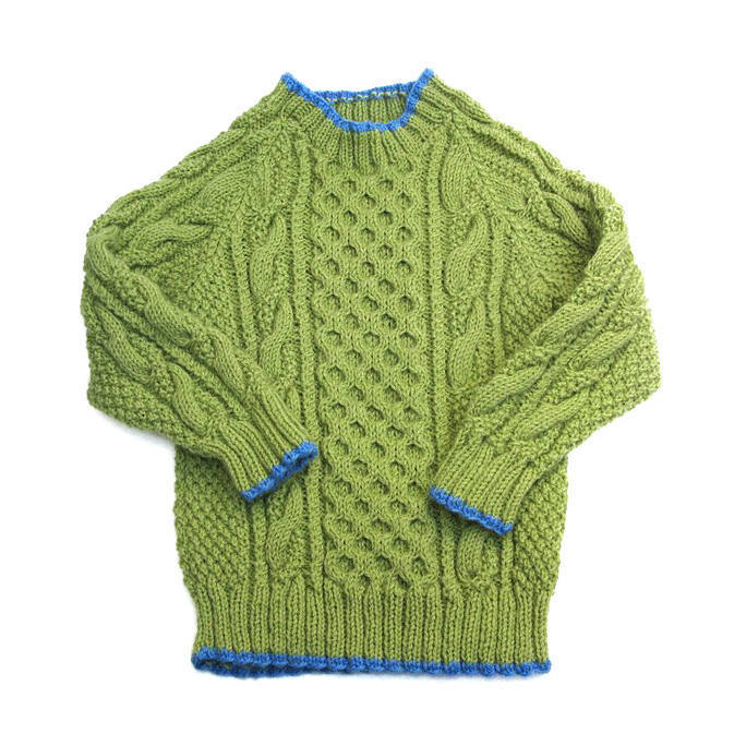 Child's Green Fisherman Knit Pullover Sweater. Unisex 2T