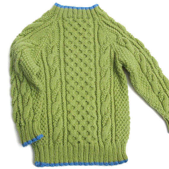 Pullover Sweater, Fisherman Knit, Green, Unisex 2T