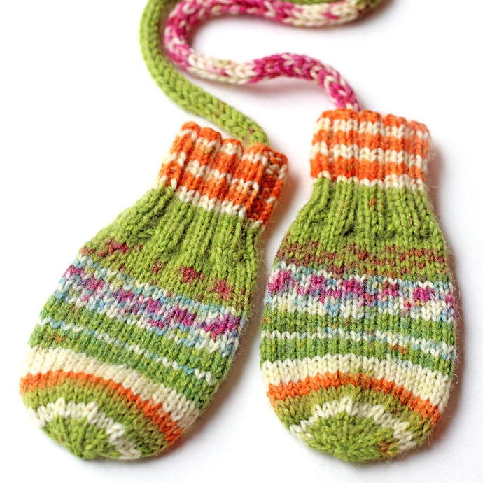 Made to Order Hand Knit Thumbless Baby Mittens. With or Without String. Newborn