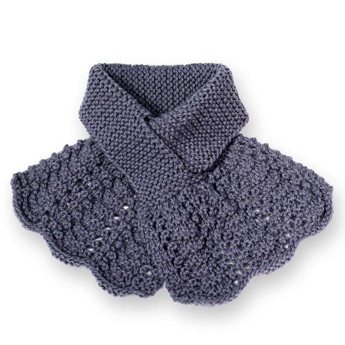 Keyhole Scarf, Women's Knitted Purple Flouncy Ascot