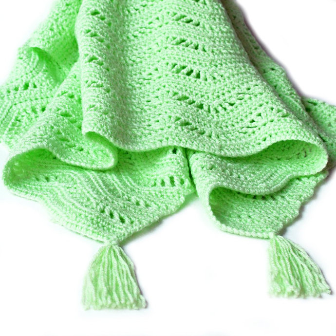 Green Ripple Baby Blanket. Childs Snuggle Up Lovey. Childs Car Seat Lapghan.
