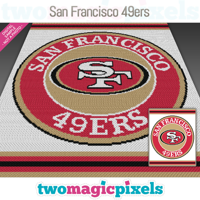 San Francisco 49ers crochet graph (Mini C2C, SC, HDC, DC, TSS), cross stitch;
