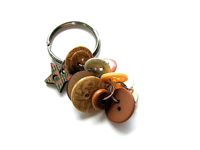 Neutral Button Key Ring Key Chain FREE US Shipping