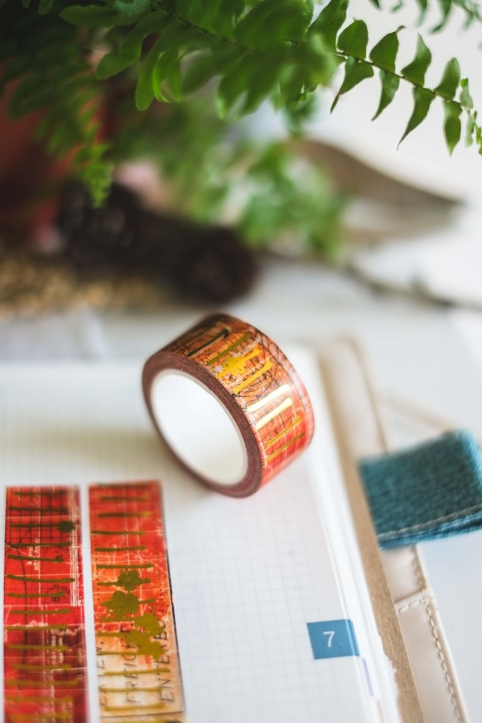 Red Lines - 2 cm wide foil washi tape 10m - original design, perfect for