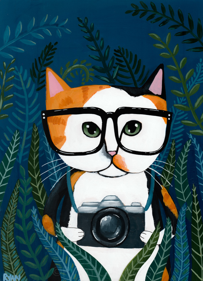 Calico Photographer in the Jungle Cat Folk Art Painting
