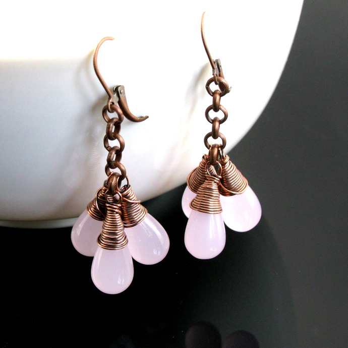 Wire wrapped rose glass drop earrings