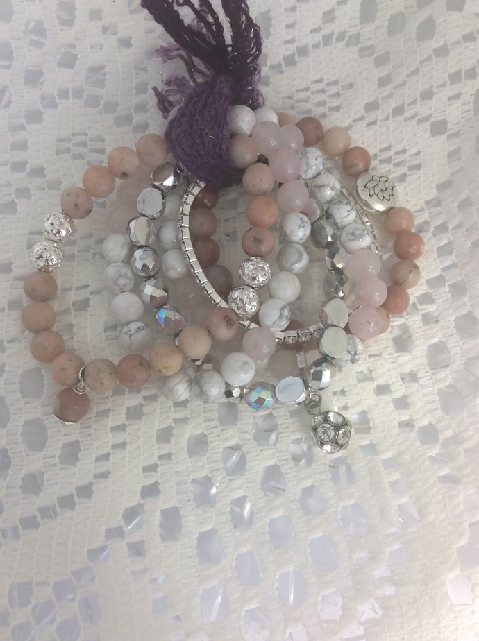Gemstone Bracelet Stack, set of 6