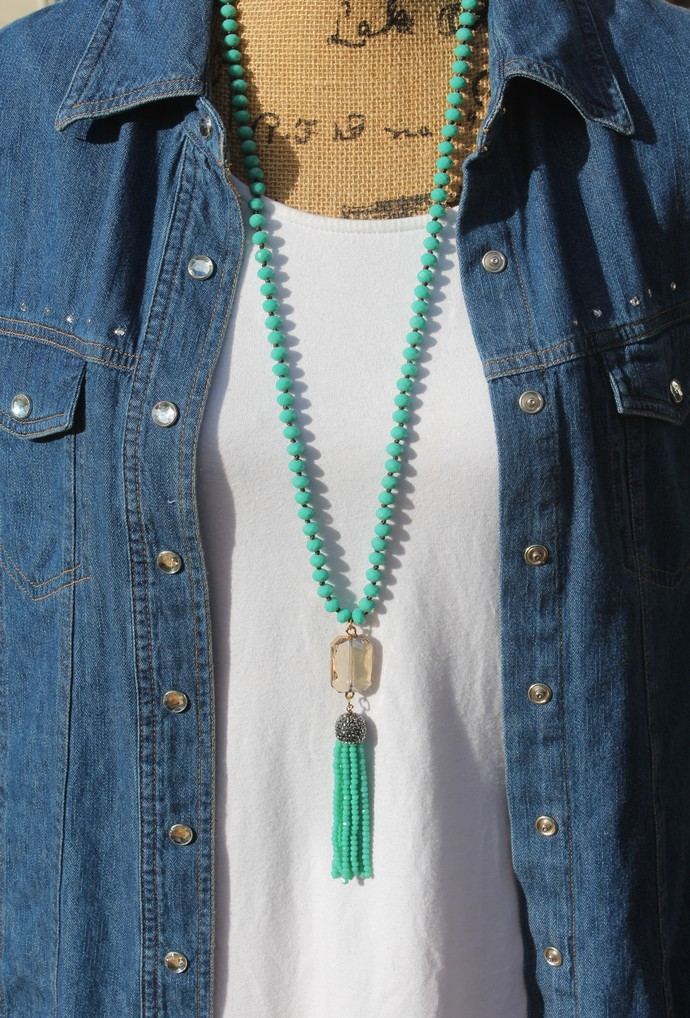 Boho Glam Crystal Beaded Necklace with Tassel Boho Jewelry gifts by KnottedUp