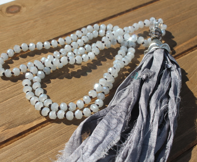 Bohemian Glam Shabby Long Grey Beaded Necklace with Silk Tassel Hand Knot