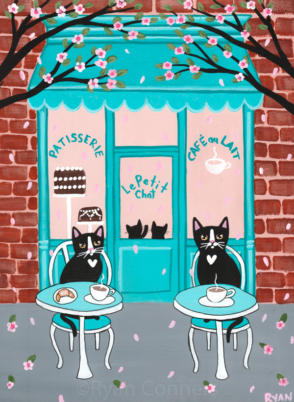 The Little Cats Coffee Cafe Original Cat Folk Art Painting