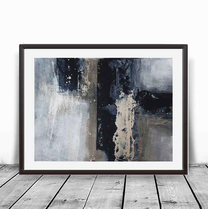 Acrylic horizontal abstract, original painting brown blue ivory , navy beige